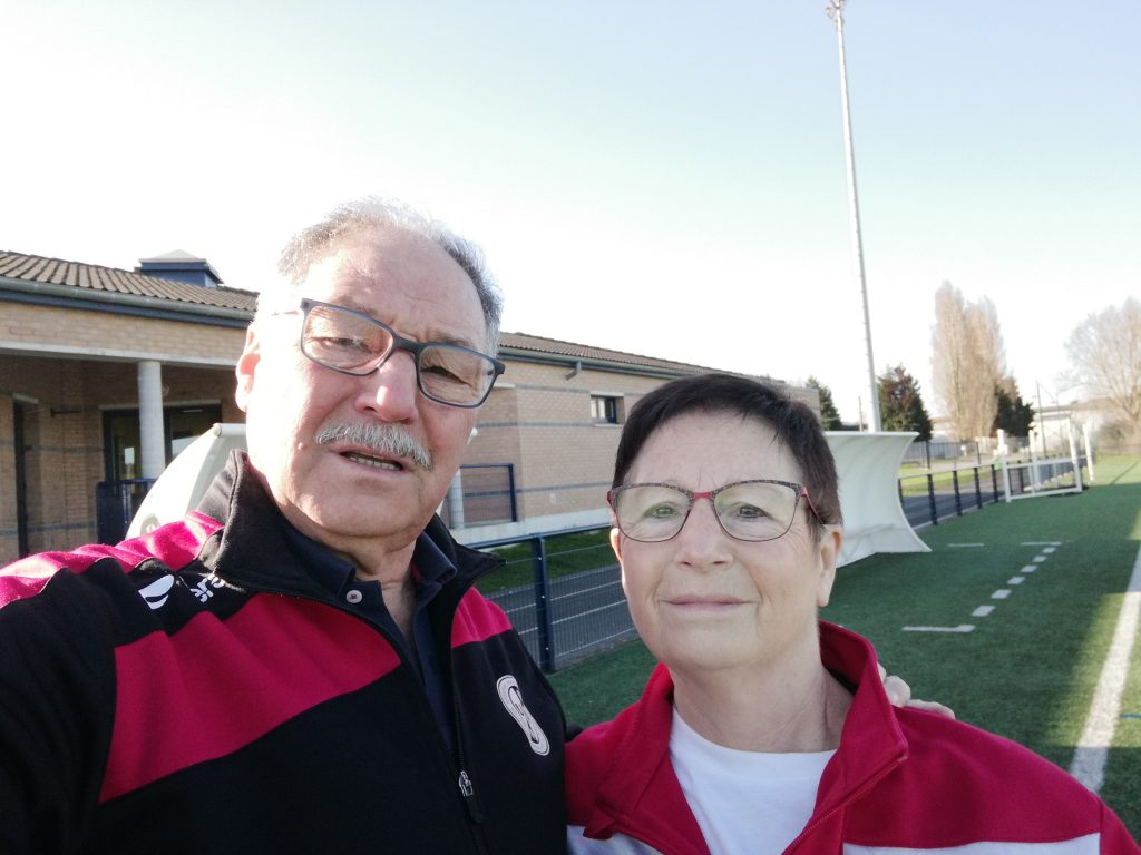 Selfie de Marie France de Sousa et de son mari au stade