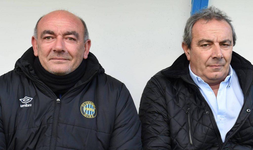 Photo de Walter, Fulvio et Bruno (fondateur, président et entraîneur du FC Chambly Oise)  de face